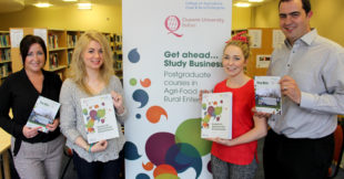Pictured preparing for the post-graduate open evening for the new post-graduate programmes in Business for Agri-Food and Rural Enterprise at Loughry Campus on 20 August 2015, are programme lecturers Marion Nugent and Gareth Wadsworth. Also pictured are current MSc students Kerri Hughes and Joanne Wilson.
