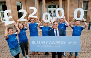 Dr John Fay with Bursary students