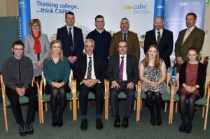 Back Row:  Maureen Currie (Danske Bank), Mark Blelock (Ulster Grassland Society), Darren McCann, (student), Victor Chestnutt (UFU), Glenn Patterson (Dunbia), Eamon Matthews (AI Services).