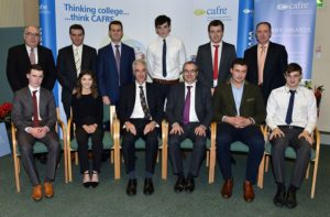 Back Row: Liam McCarthy (ABP Food Group), Nigel Young (HSBC), William Thompson (Bank of Ireland), Patrick Fee (student), Peter McCann (Irish Farmers' Journal), Ashley Fleming (Cogent).