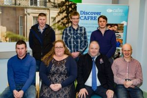 Students receiving prizes for farm business management competition