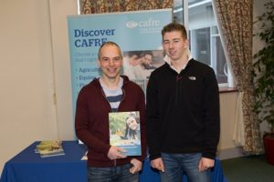 """David Morris, Head of Biology, at Portadown College pictured at the """"Agriculture and Land Use"""" Event at Greenmount Campus along with former pupil Adam Smyth."""