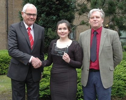 Beef Student of the Year winner, Orla Kelly receives her reward from Beef Shorthorn Society's, Geoff Riby (left) and Stuart Ashworth, Quality Meat Scotland (right)