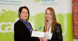 Councillor Mary Garrity, Chair of Fermanagh and Omagh District Council presenting the Jockey Hall Stud Bursary to Sophie Galloway at the recent CAFRE Enniskillen Careers Event.