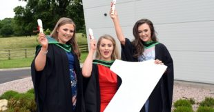 Graduation Day 2017 Jill Gourley (Castlederg), Claire Marshall (Moneymore) and Laura Ramsey (Londonderry)