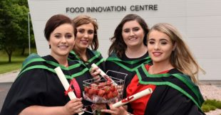 Mid-Ulster Honours Degree graduates Rachel McKinney (Tobermore), Lisa Montgomery (Dungannon), Emma Weir (Magherafelt) and Claire Marshall (Moneymore) proved 'you don't have to travel far to go far,' as they set off their careers having graduated from Loughry Campus.