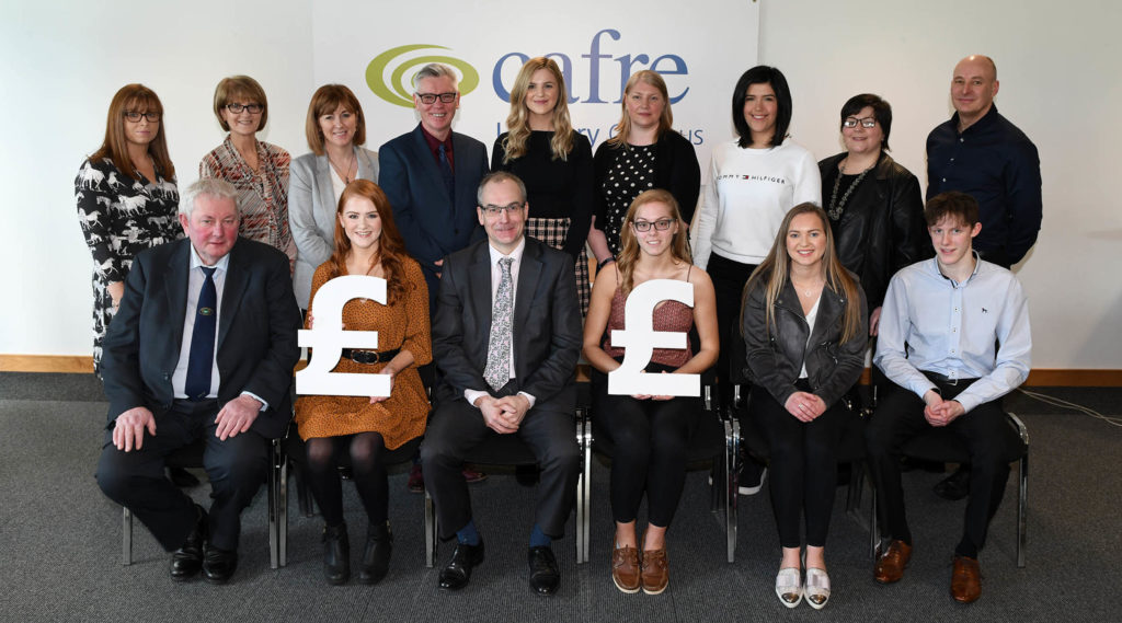 First year Loughry Bursary winners with company and CAFRE representatives