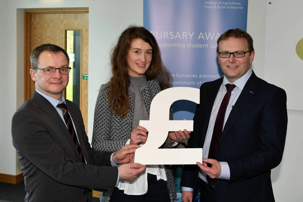 Loughry student Courtney Coyle with Shane McKinney, CAFRE Head of Food Education and Mark Forsythe, Danske bank at the bursary launch
