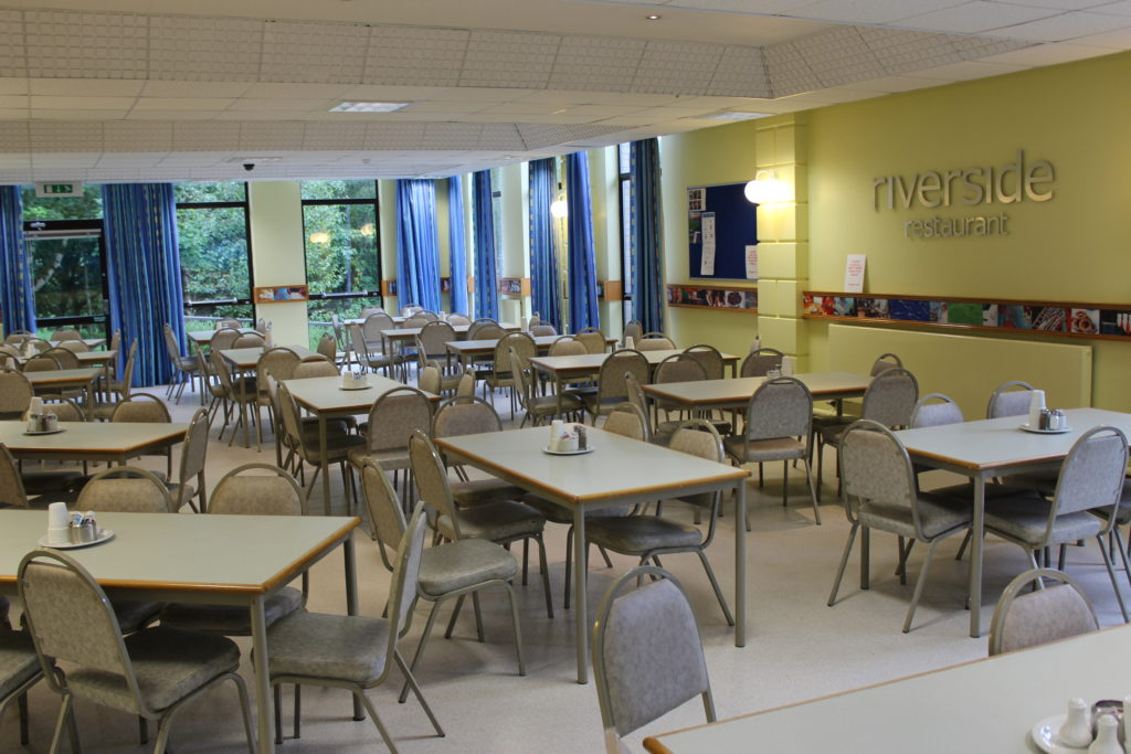 Main dining hall at the Riverside Restaurant