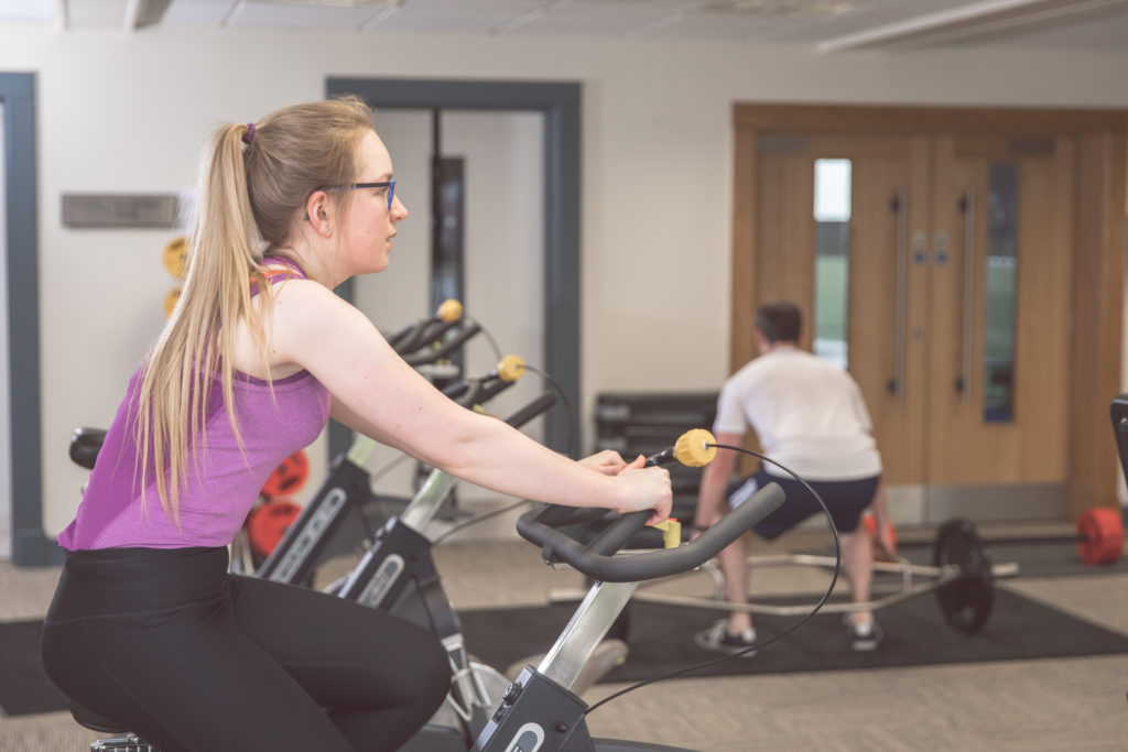 Students cycling at the gym, Loughry Campus, Cookstown CAFRE