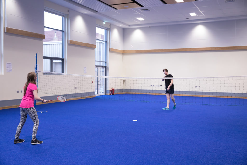 Students playing badminton Loughry Campus, Cookstown CAFRE