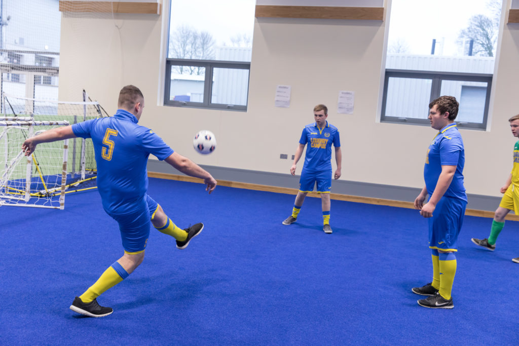 Students playing football at Loughry Campus Cookstown, CAFRE